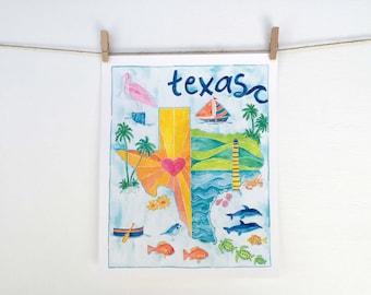 Texas Decor Beach Art Print - Watercolor Coast Map