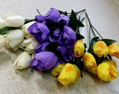 Wedding bouquet floral supply Tulips Silk Flower Stems DIY Bride artificial craft accessories make your own spring bokay yellow purple ivory