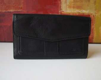 Excellent FOSSIL Black Leather Checkbook Wallet