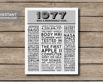 INSTANT DOWNLOAD - 40th Birthday Poster, 1977 Poster, 1977 Facts, 1977 Trivia, Newspaper Style Poster, 40th Birthday Print - Digital File
