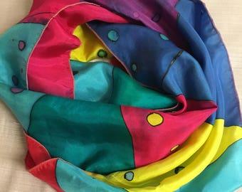 Handpainted Silk Scarf Nautical Flags by The Silk Maid