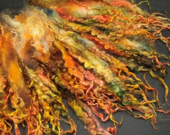 Teeswater separated  locks, hand painted fiber fleece for spinning and felting, 3.1 oz