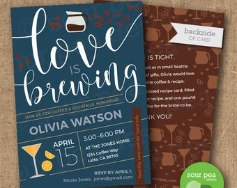 "Bridal Shower Invitation - Custom DIY Printable Invitation  - ""Coffee & Cocktails"""