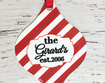 Custom Personalizes Christmas Tree Ornament with Last Name Great for Wedding or Anniversary!