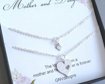 Silver Mother Daughter Heart Bracelet, Sterling Silver Heart Cutout Bracelet, Gift set for mother and daughter