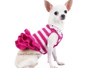 Personalized Dog Dress Pink and White Wedding Bridesmaid Custom Chihuahua Clothes DF71 and DK963 by Myknitt - Free shipping