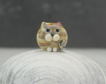 Cat Bead , Handmade Lampwork Glass Cat