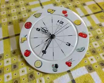 Refurbished Elgin Kitchen Clock, Vintage Ceramic Wall Clock, West German Wall Clock, Mid Century Wall Clock, Kitsch Fruits & Vegetables