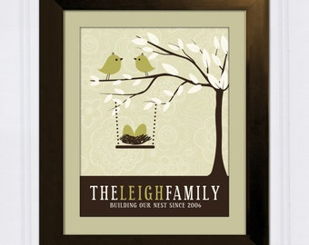 Family Tree with Love Birds, Personalized Family Tree,  Custom Art Print,  Personalized Baby Shower, or Housewarming Gift
