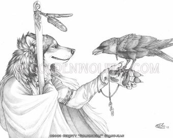 Elder Wolf with Raven Companion Print