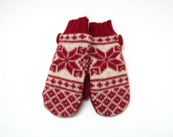 Wool Mittens Fleece Lined Red and Cream Nordic Snowflake Fair Isle Felted Wool Sweater Mittens