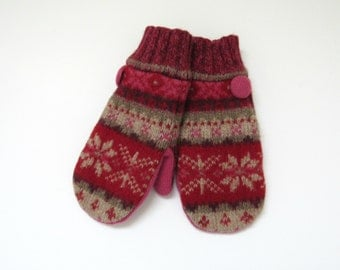 Wool Mittens Fleece Lined Snowflake Fair Isle in Red Pink Plum and Khaki Wool Mittens