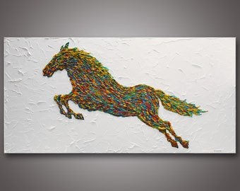 "HUGE 60"" -  Original Abstract Horse Painting - Animal Painting - Impasto Textured - Gallery Stretched Canvas  Ready to Hang - FREE SHIPPING!"