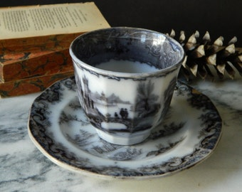 antique black transferware. ironstone. two pieces - plate and cup. Whampoa.