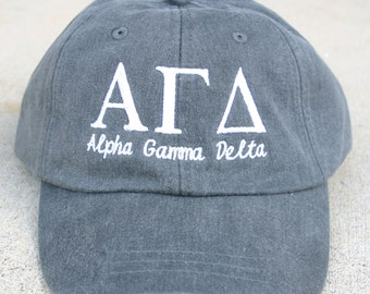 Alpha Gamma Delta with script baseball cap