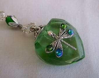 Vintage Inspired Emerald Green Dragonfly Crystal Heart Perfume Bottle Necklace