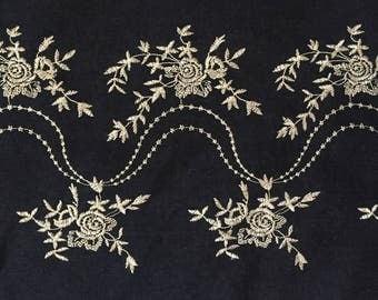 Embroidered Denim Fabric