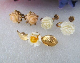 Mixed Jewelry Lot 1/20 12K GF Screw Back Earrings, 14K GF Flower Pin, Pink Flower Clips