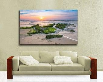 Beach Theme Large Canvas Gallery Wrap, Seascape Photography, Long Beach Island Ready to Hang Wall Art, Blue, Orange, Ocean Sunrise
