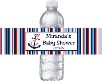 Printed 20 Personalized Nautical Baby Shower Water Bottle Labels - Red, Blue, and White Stickers for Shower favors with Sailboat or Anchor