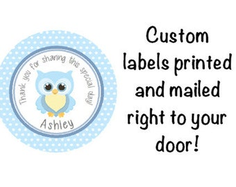 Baby Shower Printed Blue Owl Round Party Thank You Stickers for Party Favors - Adorable Owl Polka Dot Labels  **Discounts Available