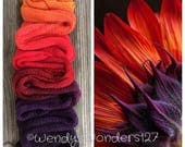 Hand Dyed Yarn, Gradient Yarn, Fingering Weight Yarn, Red Sunflower