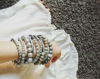 Tribal collier, beaded bracelet, boho bracelet, long necklace, handstamped necklace, handstamped bangle, everyday necklace, unique necklace