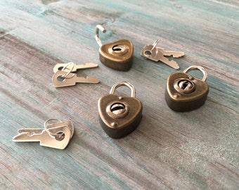 Solid Brass Padlock With Brass Keys - Mini Heart Lock- Jewelry Box Lock - Wedding Card Box Lock - Wine Box Lock - Working Lock With Keys