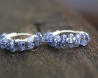 Royal blue iolite sterling silver hoop earrings gift for her made in USA