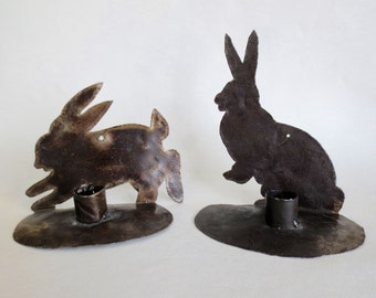 Rustic Rabbit Wall Sconces Candle Holders Bunnies Pair Set of Two Metal Handmade Vintage Woodland Cabin Lodge Decor Wall Hanging Primitive
