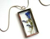 Blue Lobelia - Real Flower Garden Necklace -  botanic jewelry, pressed flower, myosotis, Veronica Blue, Nature inspired, natural, eco, ooak