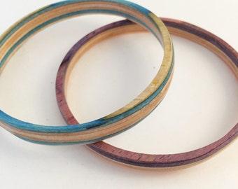 Recycled Skateboard Wood Bangle Bracelet Set