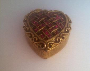 Schiaparelli Solid Perfume Heart Faux Ruby Encrusted compact Case RARE Vintage Perfume Collector Pendant Necklace GorGeously Valentine!!!!