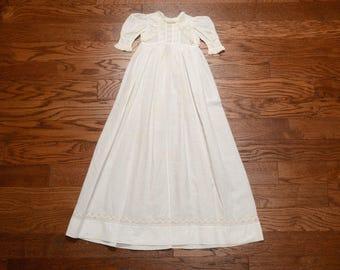 vintage 1800s baby girl dress Victorian christening dress antique linen baptism dress extra long baby dress layette Edwardian gown