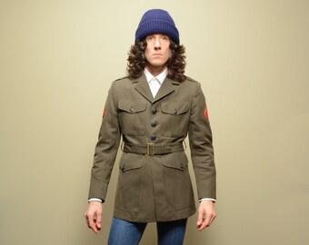 vintage USMC Marines jacket Marine uniform belted coat 39 United State Marine Corp mens medium M olive gabardine green military coat