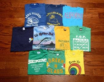 vintage 80s t-shirt lot wholesale tee shirt lot burnout tee 1980 vintage t-shirt collection lot of 10