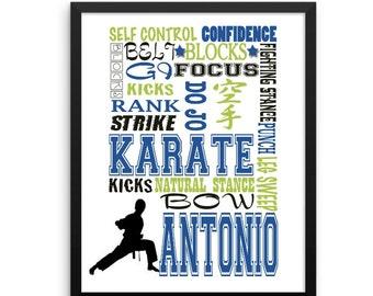Personalized Karate gift, personalized karate Print, Sports Room Decor, Karate Kid, Karate Girl, Karate Poster, martial arts