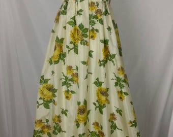 Vintage 50s Emma Domb Yellow Floral Taffeta Ruffled Gown