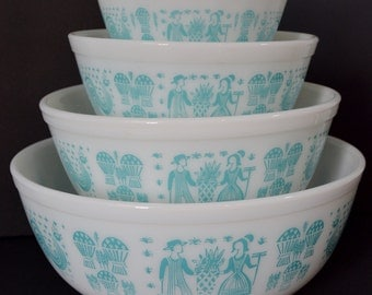Vintage Pyrex Butterprint Mixing Bowl Set Aqua Turquoise White 401 402 403 404 Nesting Complete Set of 4 Four Farmer Rooster 1950's