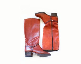30% OFF VALENTINES SALE Vintage classic riding boots // heeled riding boots // size 6 1/2 // Vibram brown harness boots // leather tall calf