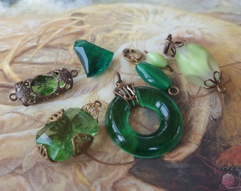 7 Vintage Rare DECO Czech & Art Glass Pendants and Pieces UPCYCLED