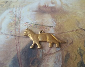 Vintage Awesome Old Brass  Kitty Cat Pendant Charm