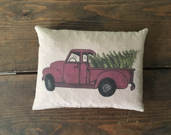 red truck and Christmas tree feed sack accent pillow