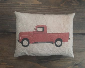 Red Truck Feedsack Accent Pillow