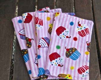 Birthday Cupcake Flannel Kids Napkins Set of 4
