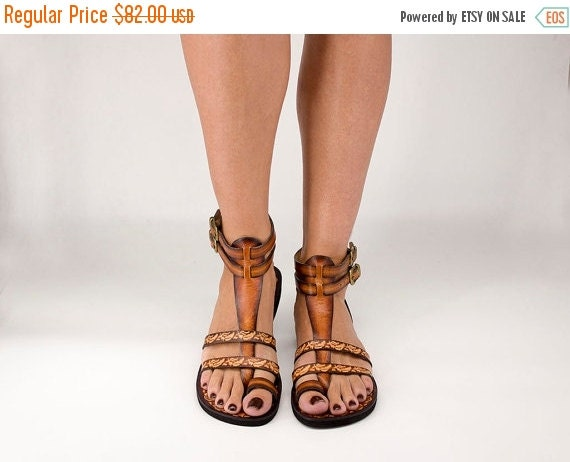 XMAS SALE Handcrafted Women Men Gladiator Sandals With Pattern - Fascination