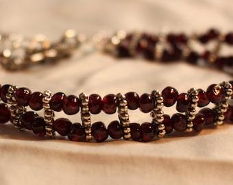 Double Stranded Garnet Bracelet