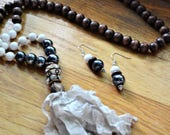 HOLD for MICHELE Neutral Ribbon Tassel Necklace Black White  Brown Beads Taupe Ribbon  and Matching Earrings