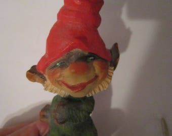 henning carved wood gnome norway, adorable vintage handcarved gnome