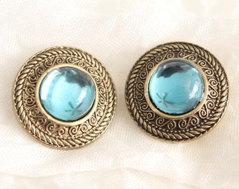 Vintage Pair Of Gold And Blue Green Button Covers . Unsigned
